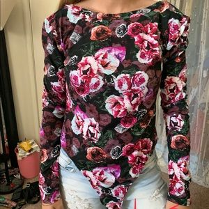 Floral one piece long sleeve w/ opened back